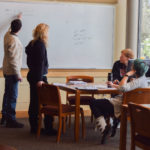 university students in math tutoring session