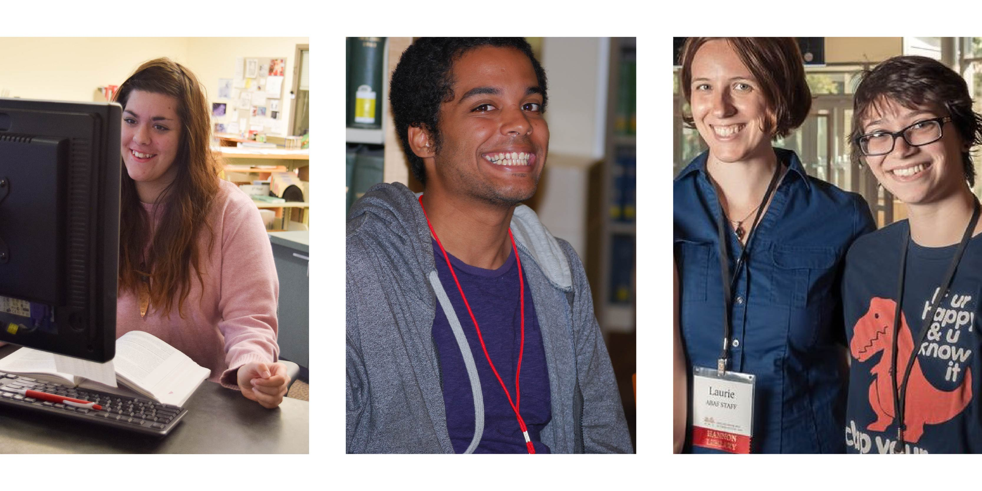 collage of four different student employees at Hannon Library