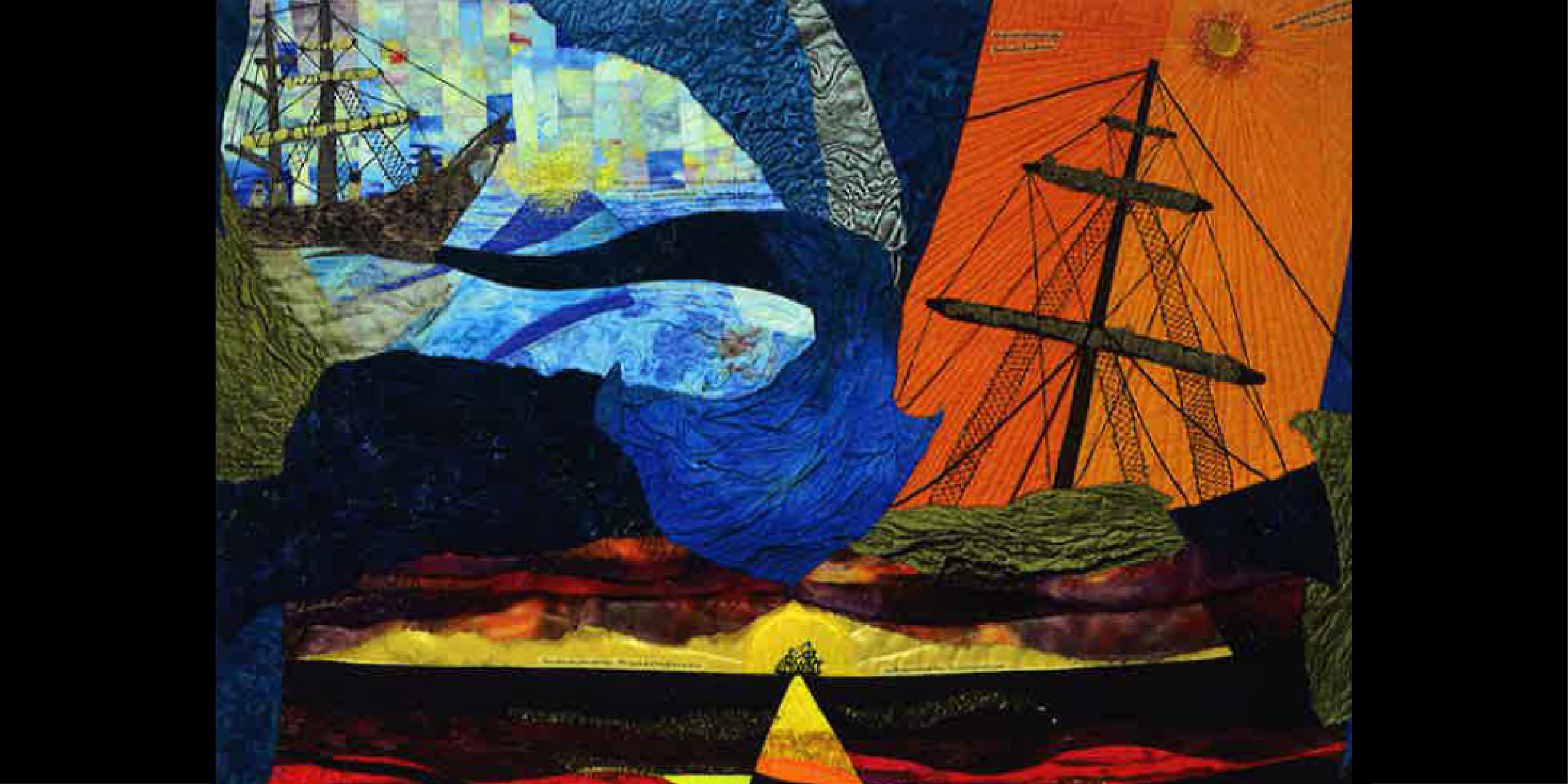 textile art depicting ships on an ocean