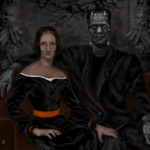 art of Mary Shelley and Frankenstein's Monster sitting together like a couple
