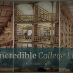 photo collage of libraries with text: Most Incredible College Libraries, EDsmart.org